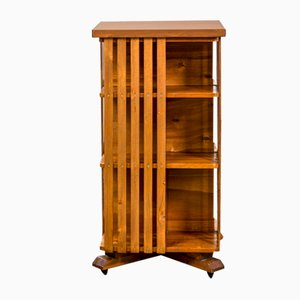 Revolving Bookcase with Wooden Shelves & Wheels, Italy, 1950s