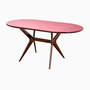 Painted Wood Table with Glass Top by Ico Parisi for Fratelli Rizzi, 1950s