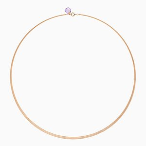 Minimalist 18k Rose Gold Chain Necklace with Small Natural Amethyst Charm by Rebecca Li