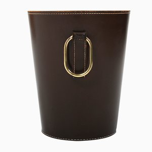 Brown Leather Waste Paper Basket by Carl Auböck for Illums Bolighus, 1950s