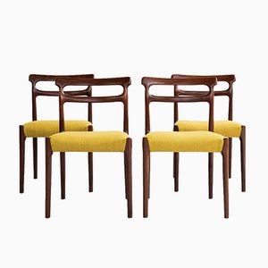 Mid-Century Danish Wood & Ocher Dining Chairs, 1960s