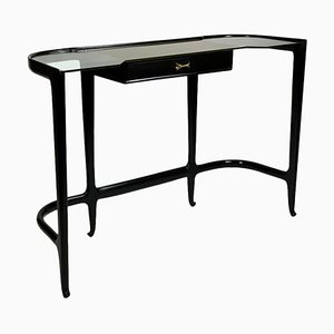 Mid-Century Italian Black Lacquered Wood and Glass Top Console from Guglielmo Ulrich