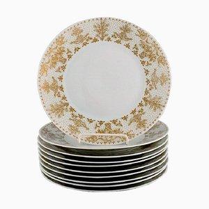 Gold Porcelain Plates from Bjørn Wiinblad for Rosenthal, 1980s, Set of 10