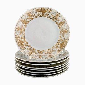 Gold Porcelain Plates from Bjørn Wiinblad for Rosenthal, Set of 8
