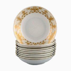Gold Porcelain Plates from Bjørn Wiinblad for Rosenthal, Set of 10