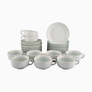 Modernist White Tea Service by Edith Sonne for for Bing & Grøndahl, Set of 24