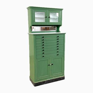 Antique Wooden and Glass Medical Aseptic Cabinet