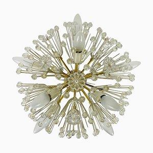 Glass and Brass Snowflake Flush Mount by Emil Stejnar for Rupert Nikoll, 1960s