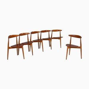 Beech & Teak FH4103 Heart Chairs by Hans J. Wegner for Fritz Hansen, Set of 6