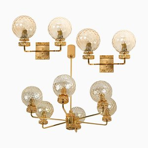 Gold-Plated Glass Light Fixtures in the Style of Brotto, Set of 3