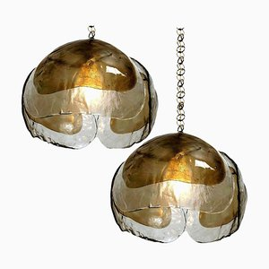 Smoked Glass and Brass Pendant Lights in the Style of Kalmar, 1970s, Set of 2