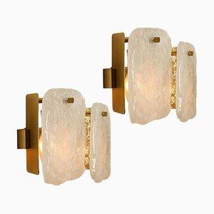 Austrian Glass and Brass Wall Lights by J.T Kalmar, 1960s, Set of 2