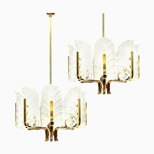 Large Glass & Brass Chandeliers by Orrefors for Carl Fagerlund, Set of 2
