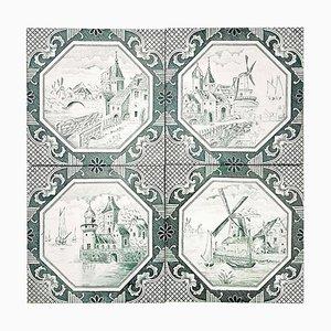 Ceramic Tiles by Gilliot, 1930, Set of 4