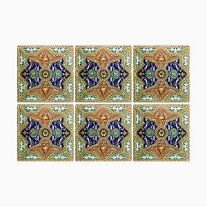 Antique Spanish Ceramic Tiles, 1900, Set of 6
