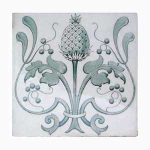 Belgium Art Nouveau Glazed Tiles, 1920, Set of 16