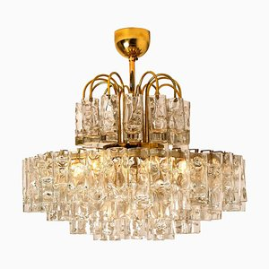 Glass and Brass Chandelier from Doria, 1960
