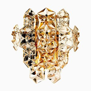 One of the Four Large Gilt Brass Faceted Crystal Sconces Wall Lights Kinkeldey From Cor