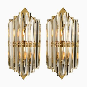 Italian Murano Glass and Gilt Brass Sconces in the Style of Venini, Set of 2