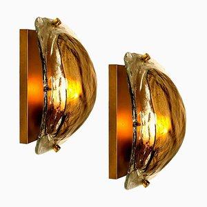 Brass and Murano Glass Wall Lights by J. Kalmar, Set of 2