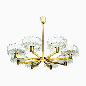 Large Glass and Brass Chandelier from Doria, 1960s