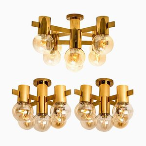 Brass and Glass Light Fixtures in the Style of Jakobsson, 1960s, Set of 3