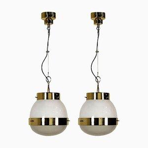 Glass & Brass Delta Grande Pendant Light by Sergio Mazza for Artemide, 1960s, Set of 2