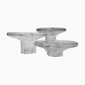 Ice Glass Candleholders by Timo Scarpaneva for Littala, 1980s, Set of 3
