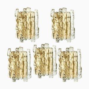 Austrian Ice Glass & Brass Wall Sconces by J.T. Kalmar for Cor