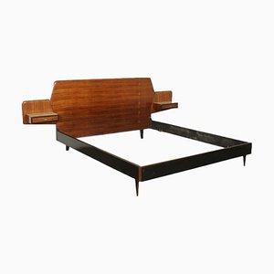 Italian Wood & Glass Bed Frame, 1960s