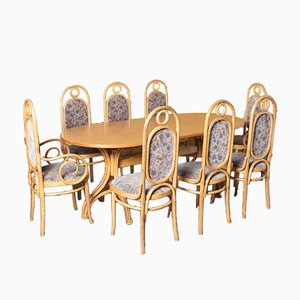 Dining Table & 8 Long John Chairs by Michael Thonet, Set of 9