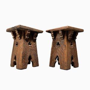 Gothic Oak Tables, Set of 2