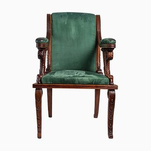 Carved Wooden Desk Armchair, 19th Century