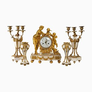 Mantelpiece Set in Gilded Bronze and White Marble Trim, 19th Century, Set of 5