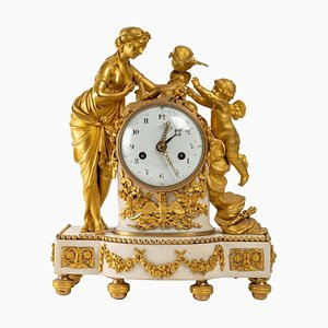Gilt Bronze and White Marble Clock