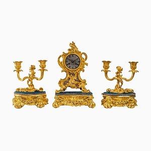 Louis XV Style Gilded Bronze Mantel Set, Set of 3