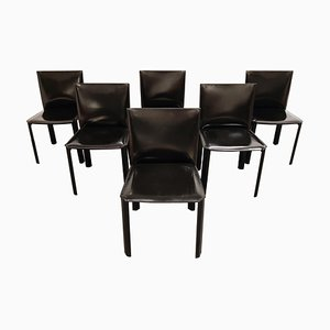 Black Leather Dining Chairs from De Couro Brazil, 1980s, Set of 6
