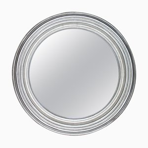 Round Neoclassical Style Hand-Carved Wooden Mirror in Silver