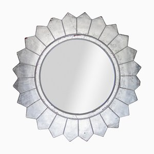 Round Neoclassical or Empire Style Hand-Carved Wooden Mirror in Silver, Spain, 1970s