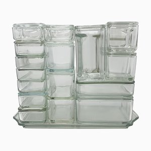 Bauhaus Glass Containers by Wilhelm Wagenfeld, Germany, 1930s, Set of 17