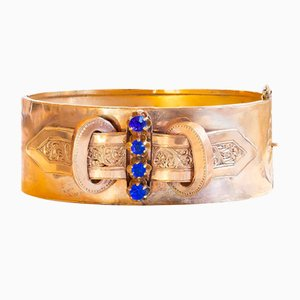 Bourbon Period Rigid Bracelet in 18K Gold with Blue Glass Pastes, Late 19th Century