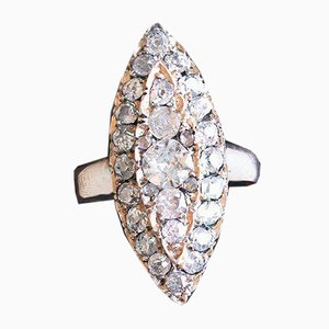 Antique Navette Ring in 8K Gold with Old Cut Diamonds
