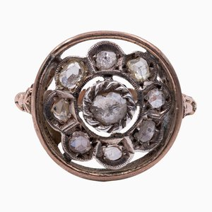 Antique 9K Gold Ring with Rose-Cut Diamonds, Early 1900s