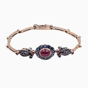 Vintage Bracelet in 14K Gold with Sapphires and Rubies, 1960s