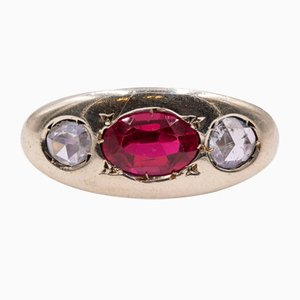 Men's Ring in 14K Gold with Ruby and Rosette Cut Diamonds, 1960s