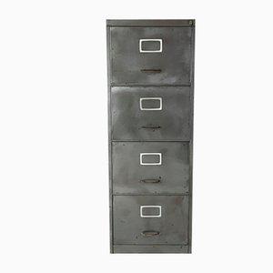Vintage Polished Steel 4-Drawer Filing Cabinet
