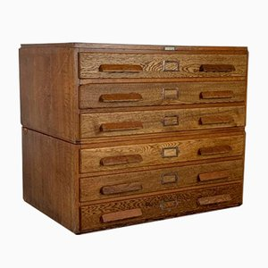 Mid-Century Plan Chest with Wooden Handles