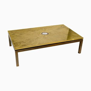 Etched Brass Coffee Table with Inlay in Agate from ADS