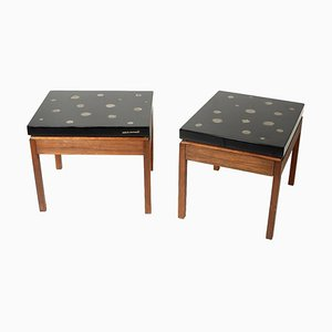 Side Tables in Black Resin and Marcasite by E. Allemeersch, Set of 2