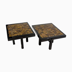 Black Resin Side Tables with Inlay in Tiger Eye by E. Allemeersch, Set of 2